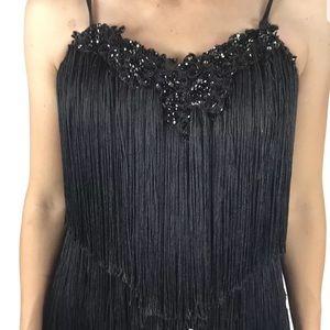 Gatsby Strapless Fringe Tassel Flapper Dress Gown